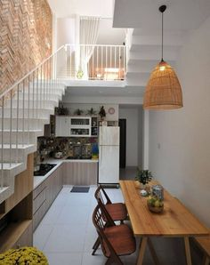 Trendy home decoration indian magazines Ideas Minimalist House Design, Small House Design, Home Room Design, Minimalist Home, Home Interior Design, Design Kitchen, Kitchen Ideas, Narrow House Designs, Kitchen Layout