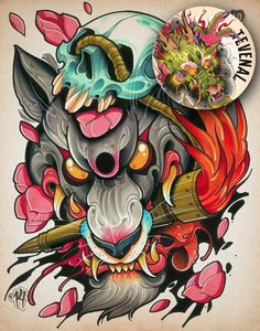 awesome wolf rendered in neo-traditional style Tattoo Cover, 4 Tattoo, Body Art Tattoos, Tattoo Flash, Japanese Tattoo Art, Japanese Art, Wolf Tattoos, Animal Tattoos, Leg Tattoos