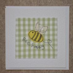 Freehand Machine Embroidery, Machine Embroidery Projects, Fabric Postcards, Fabric Cards, Embroidery Cards, Free Motion Embroidery, Chicken Scratch Embroidery, Sewing Cards, Bee Cards