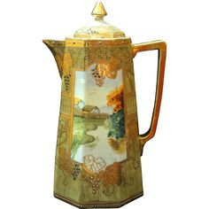 Nippon Hand Painted Scenic Chocolate Pot, Jeweled Grapes Grape Leaves, Heavy Gold Gilt. Chocolate Pots, Chocolate Coffee, History Of Chocolate, Antique Dishes, Country Scenes, Pot Sets, Wood Glass, Noritake, Teapots