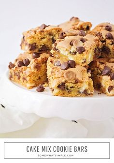 These sweet and chewy cake mix cookie bars are loaded with a variety of chocolate chips. They are super simple to make and totally delicious! #cakemixcookiebars #chocolatechipcakemixcookiebars #3ingredientcakemixcookiebars #cakemixcookiebarrecipe #howtomakecakemixcookiebars