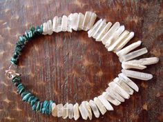Quartz Crystal Necklace with Turquoise by borderlandsJEWELRY, $105.00