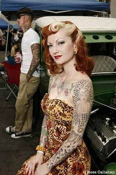 Rockabilly Hairstyles Wonder if I can pull it off, hairs already red just need the blond... Might freak alot of people.. He he he