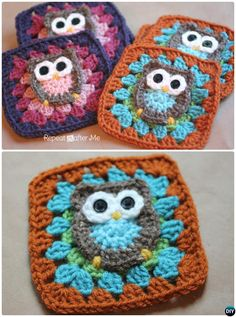 Crochet Squares Granny Design Crochet Owl Granny Square Free Pattern - Crochet Granny Square Free Patterns: Crochet Animal, Flower, Heart, Granny Square with Free Patterns and video for beginner and seasoned crocheters. Granny Square Crochet Pattern, Crochet Blocks, Crochet Squares, Crochet Granny, Crochet Motif, Crochet Owl Blanket, Crochet Blanket Patterns, Crochet Owls, Crochet Cushions