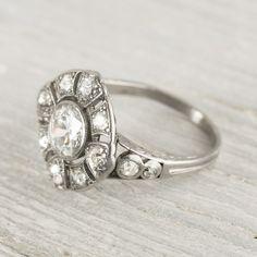 .96 Carat Old European Cut Diamond Edwardian Antique Engagement Ring