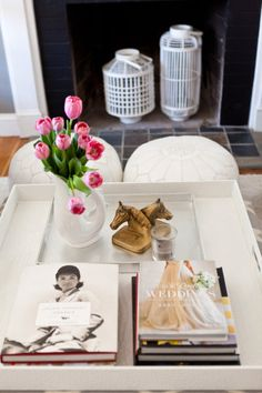 a well styled tray with great reading material Photography by http://www.erinmcginn.com/