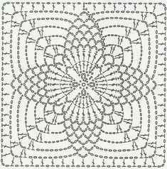 Crochet motifs chart Circular center 4 points ends as a square Crochet Motif Patterns, Crochet Blocks, Crochet Diagram, Crochet Chart, Crochet Squares, Crochet Granny, Crochet Designs, Crochet Stitches, Stitch Patterns