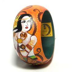 Bracciale in legno dipinto a mano L'attesa di Klimt