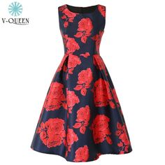 V-QUEEN Summer Women Rose Floral Print Tank Dress 2016 New Red Flower O-Neck High Waist Pleated Vintage Midi Dresses A1604038