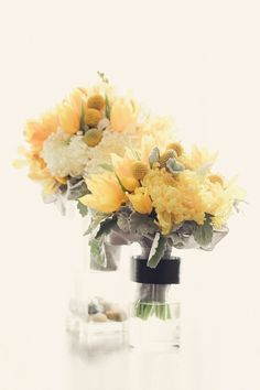 Yellow and Gray beauties! Design by A Good Affair Wedding & Event Production