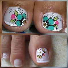 Pretty Toe Nails, Cute Nails, Nails & Co, My Nails, Toenail Art Designs, New Nail Art Design, Cute Pedicures, Sunflower Nails, Nail Time