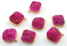 Pink Druzy Crystal Cluster Bezel Cushion Component, AAA quality Gemstone 20mm, 1 Piece (BZC9027-B)