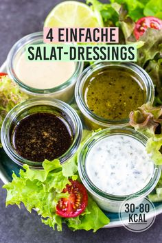 4 gesunde Salat-Dressing-Rezepte – Kalorien genießen 4 different and healthy dressings for salad. Healthy and low-calorie cooking. Quick recipes for losing weight. Salad Recipes For Dinner, Salad Dressing Recipes, Vinaigrette Dressing, How To Make Salad, Calories, Healthy Salads, Healthy Lunches, Quick Recipes, Vegetarian Recipes