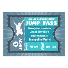 Jump Party Invitations, 300 Jump Party Announcements & Invites