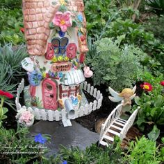 A Fire Pit Fairy Garden ~ Two Versions, Choose Your Favorite! #repurposed #outdoordecor