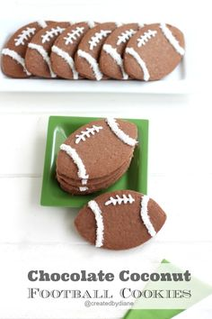 Chocolate Coconut Football Cookies