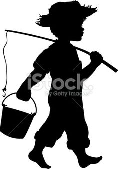 Little boy going fishing Royalty Free Stock Vector Art Illustration