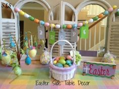 Easter decorations table