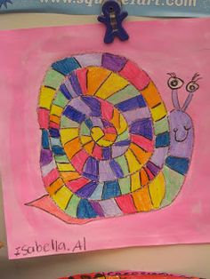 Jamestown Elementary Art Blog: 1st grade; lines, spirals - Great idea to integrate Art and Music (Snail, Snail 1st grade song), but MORE than that - think of the connection between LINE (shape) in music (the melodic contour that the intervals create)