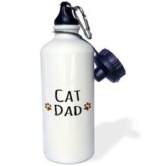 3dRose Cat dad text in black with two paw prints - for male pet owners and kitty lovers, Sports Water Bottle, 21oz