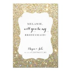 Will You Be My Bridesmaid Card - Wedding Day Glam - marriage invitations wedding party cards invitation Gold Glitter Wedding, Glitter Wedding Invitations, Wedding Invitation Cards, Wedding Cards, Wedding Day, Wedding Rsvp, Invites, Bridesmaid Invitations, 1920s Wedding