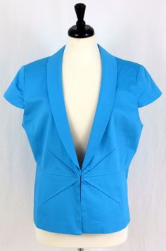 New York & Co Cap Sleeve Stretch Career Jacket Tuxedo Lapel Lined Blue 18 #AnnTaylor #Blazer