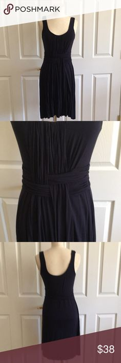 Anthropologie Bailey 44 Navy Blue Fitted Dress Good used condition! I removed all tags but comfortable easy dress to throw on. Has a touch of stretch and Cotton. I hung to dry this after washing. Wears well. Subtle basket weave pattern. Bailey 44 is known for it's great quality!  Non Smoking home Anthropologie Dresses Midi
