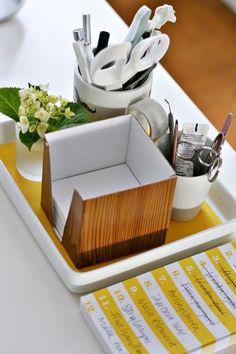 cubicle ideas   use a tray to help organize a desk   ORGANIZING!****STORAGE!