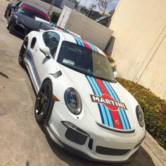 Porsche 991 GT3 RS painted in White w/ Martini livery stickers Photo taken by: @levelupbilly on Instagram