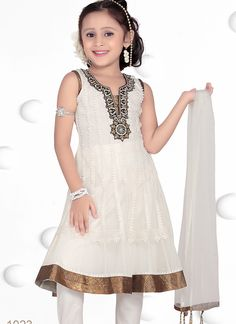 Riveting Georgette White Designer Kids Wear Salwar Suit