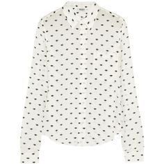 KENZO Eye-print silk-crepe shirt (1.785 ARS) ❤ liked on Polyvore featuring tops, blouses, shirts, blusas, long sleeves, white tops, white long sleeve shirt, pattern long sleeve shirt, print top and white blouse