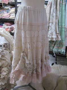 Vintage Kitty.. vintage crochet.. romantic full circle skirt.. roses, vintage cotton ticking..  lace, shabby chic..