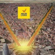 Ara és l'hora: Via Catalana 2014 - in.directe.cat, 17.7.2014. ANC i Òmnium han presentat avui dijous la carta que jugarà la ciutadania per defensar no només la consulta, sinó també el Sí-Sí: la mobilització popular. Ara és l'hora és el lema i el web on es poden inscriure ja a la Via Catalana 2014, la que pretén ser la mobilització més massiva de la Història de Catalunya, la qual cosa vol dir superar els gairebé dos milions de persones de la Via Catalana de l'any passat.