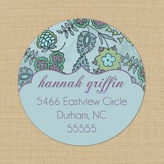 Blue Faded Floral - Custom Personalized Address /Product Labels or Stickers - great site.xx