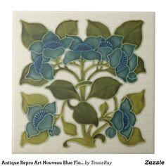 Shop Antique Repro Art Nouveau Blue Flowers Tile created by TessieRay. Antique Tiles, Antique Art, Style Tiles, Azulejos Art Nouveau, Ceramic Tile Art, Art Tiles, Period Color, Art Nouveau Pattern, Art Nouveau Tiles