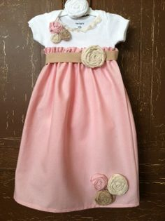 Infant Long Dress with rolled flowers made with par MarleyOcean, $40.00