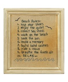 Take a look at this 'Beach Rules' Stitchery Wall Art by Primitives by Kathy on #zulily today!