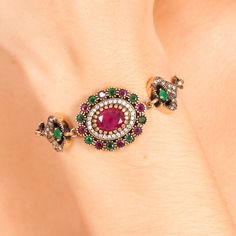 The Zerbap Semin Bracelet  with Zircon Emerald Ruby by Rosestyle, $65.00