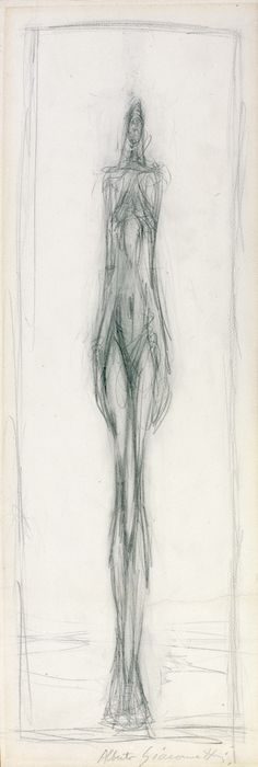 "Alberto Giacometti ""Femme debout"" (Standing woman) drawing in crayon on paper dated c.1947-1950 #drawing #giacometti"