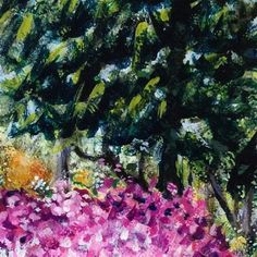 "Daily Paintworks - ""Spring in the Park"" - Original Fine Art for Sale - © Debbie Yacenda"