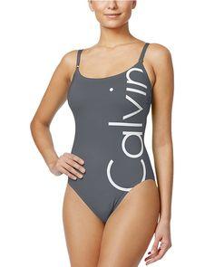 Calvin Klein Logo Classic One-Piece Swimsuit - Swimwear - Women - Macy's Retro One Piece Swimsuits, One Piece Swimsuit Red, Retro Bathing Suits, Retro Swimwear, Red Swimsuit, Calvin Klein Swimwear, Streetwear, Grunge, Women Swimsuits