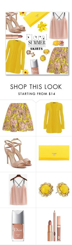 """""""Bloomin' skirt"""" by jckallan ❤ liked on Polyvore featuring MSGM, WearAll, Paul Andrew, Prada, Kate Spade, Christian Dior, Dolce Vita and Floralskirts"""