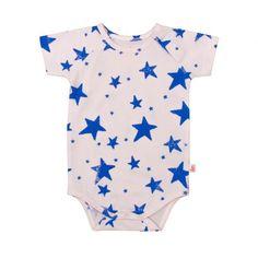 Baby Short Sleeved Raglan Onesie in Blue Stars