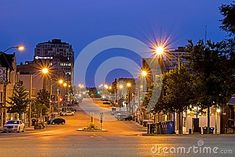 Looking east down McDonnell Street in Guelph, Ontario, Canada in the twilight before sunrise. Before Sunrise, Marina Bay Sands, Ontario, Twilight, Canada, Street, Building, Travel, Viajes