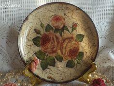 """Купить Тарелка прямой и обратный декупаж. """"Письма Розы"""" - розы, тарелочка, тарелка, тарелка декупаж"""