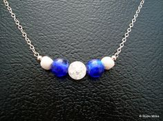 Blue Glass Necklace with White Lava Beads Nautical by StudioMilika, $30.00 #pcfteam