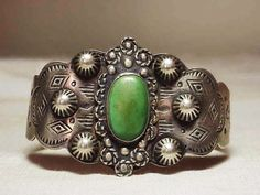 Wide Vintage Navajo Sterling Silver Green Turquoise Cuff Bracelet Thunderbirds #None