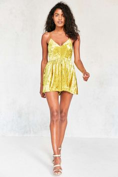 d091d2307db Silence + Noise Vanessa Crushed Bright Yellow Velvet Fit and Flare Playsuit