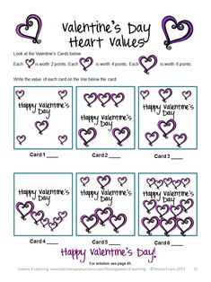Here is just the thing to get the kids to LOVE math! These Valentine's Day Math Games and Valentine's Day math Puzzles will en. Teaching Activities, Teaching Resources, Teaching Ideas, Valentine Games, Valentines Day, Holiday Games, Holiday Ideas, Fun Math Games, Love Math