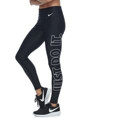 """Women's Nike Power Training \""""Just Do It\"""" Graphic Tights ($54) ❤ liked on Polyvore featuring grey and nike"""